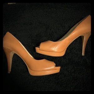 Nine West Brown Peep Toe Heels